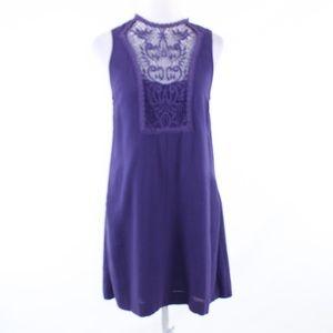 Free People purple cotton lace panel shift dress M